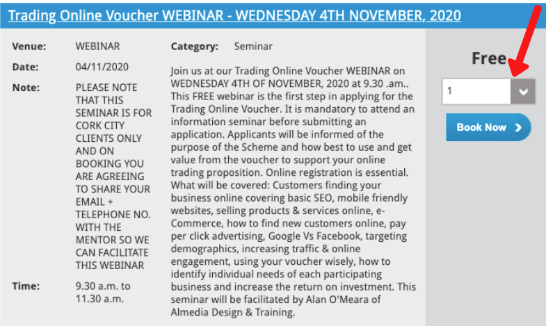 How to book the Trading Online Voucher webinar
